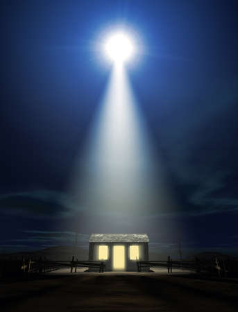 A depiction of the nativity scene of christs birth in bethlehem with the isolated run down stable being lit by a bright star photo
