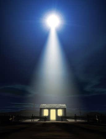 nacimiento de jesus: Una representación de la escena de la natividad de nacimiento cristos en Belén con la carrera aislada hasta ser estable iluminado por una estrella brillante