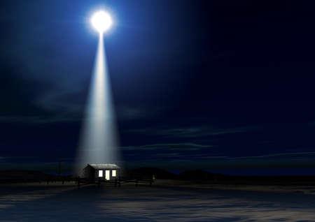 pesebre: Una representaci�n de la escena de la natividad de nacimiento cristos en Bel�n con la carrera aislada hasta ser estable iluminado por una estrella brillante