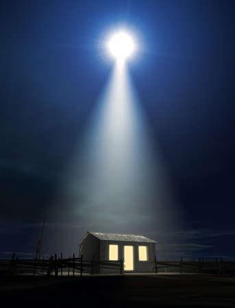 birth of jesus: A depiction of the nativity scene of christs birth in bethlehem with the isolated run down stable being lit by a bright star