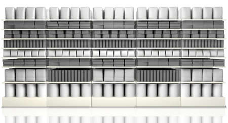 unsaturated: A unsaturated front view of five sections of supermarket shelving with generic products packed into them