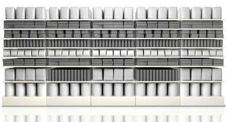 Una vista delantera insaturado de cinco secciones del supermercado estantes con los productos genéricos para llevar en ellos