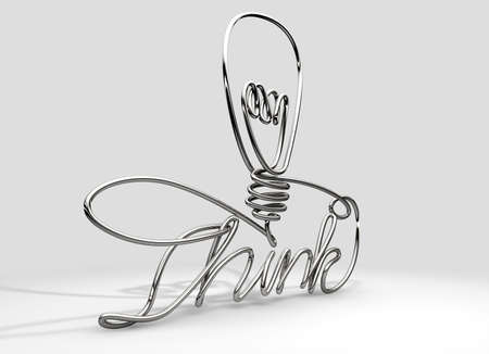 A continous wire twisted into the word Think and a simple lightbulb shape     photo