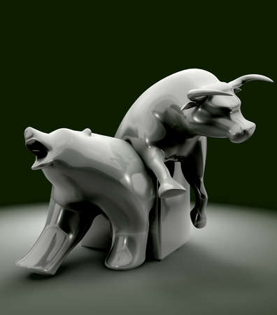 bearish market: The statue depicting the downward bull and upward bear economic trends