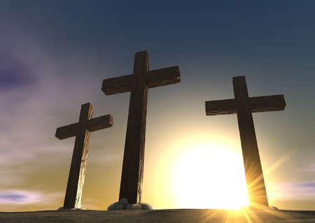 Un'impressione delle tre croci sul Golgota montagna che rappresenta il giorno della crocifissione cristi in un'alba Archivio Fotografico - 14989778