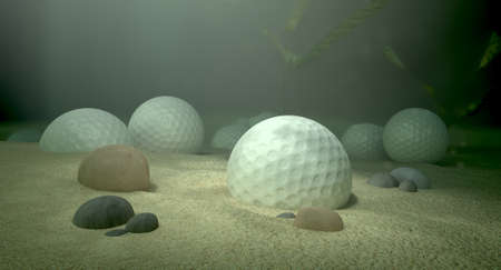 embed: An underwater scene of a golf water hazard with a few golf balls laying on the sand bottom