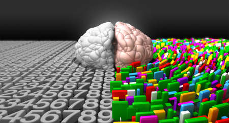 modes: A typical brain with the left side depicting an analytical, structured and logical mind, and the right side depicting a scattered, creative and colorful side. Stock Photo