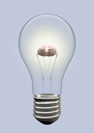 notion: A light bulb with an illuminated brain as the filament Stock Photo