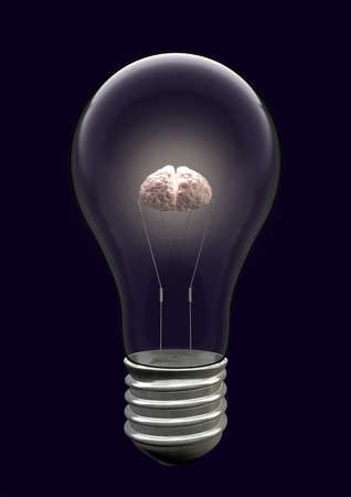 filament: A light bulb with an illuminated brain as the filament Stock Photo
