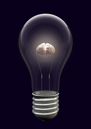 gatillo: Una bombilla de luz con un cerebro iluminado como el filamento Foto de archivo