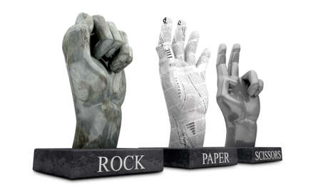 eliminating: 3 statuettes showing the hand-game Roshambo, made out of the hand gestures corresponding to the materials of rock, paper and scissors on an isolated background