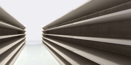 aisle: A perspective view of a shopping aisle with empty shelves Stock Photo