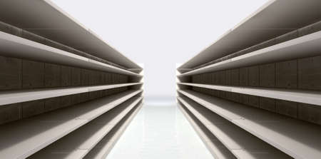 emty: A perspective view of a shopping aisle with empty shelves Stock Photo