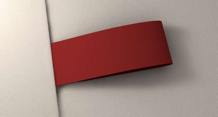 sewing label: A red woven clothing label sewn into seamed white fabric Stock Photo