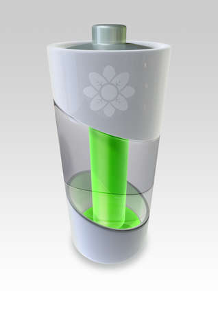 battery icon: A concept of an environmentally friendly battery that produces green energy Stock Photo