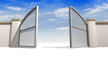 gateway: A solid garden wall with open metal gates with a blue sky in the background and isolated on a white foreground