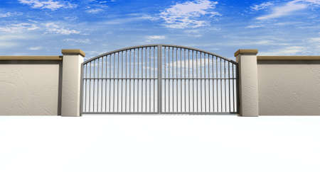gateway: A solid garden wall with closed metal gates with a blue sky in the background and isolated on a white foreground Stock Photo