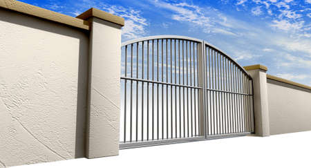 A solid garden wall with closed metal gates with a blue sky in the background and isolated on a white foreground Stock Photo - 15225179