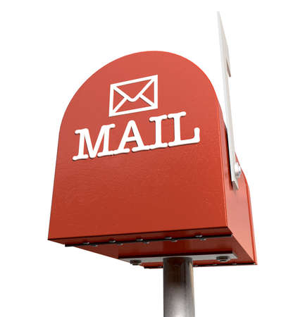 An upward view of a red old school retro tin mailbox with a white flag
