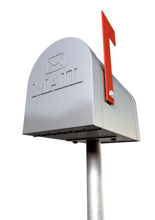 An upward view of an old school retro tin mailbox with a red flag photo
