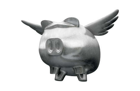 A literal description showing a charm of a metal winged pig photo