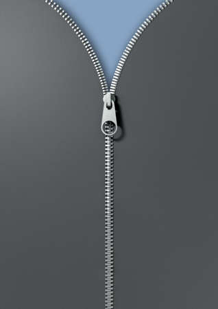 zipped: A top view of fabric item joined with a metal zipper half way zipped up