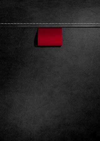 etiquetas de ropa: Un tejido rojo etiqueta cosida en la ropa de cuero negro con costuras