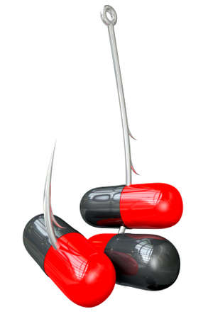 literal: A literal description of a metal fishing hook hooked onto three red and black medicine capsules on an isolated background