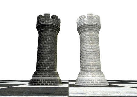 A black and a white castle chess piece made of brick and mortar opposing each other on a chess board on an isolated background Stock Photo - 15732709