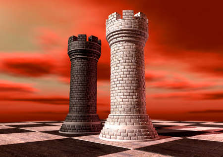 turrets: A black and a white castle chess piece made of brick and mortar opposing each other on a chess board against a red cloudy sky