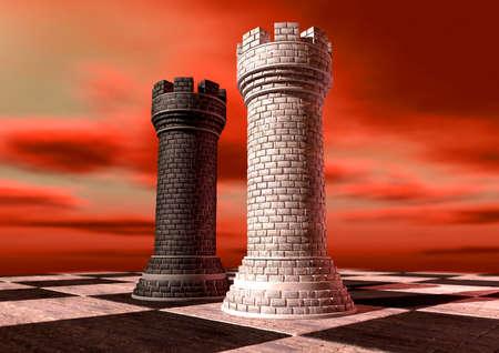 checker board: Un negro y una pieza de ajedrez blanco castillo de ladrillo y mortero opuestos entre s� en un tablero de ajedrez contra un cielo nublado rojo