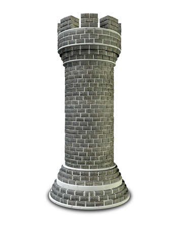 castle tower: A brick and mortar built castle chess piece on an isolated background Stock Photo