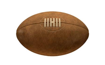 and rugby ball: Una vieja pelota de rugby de cuero cl�sico con cordones y costuras en un fondo aislado
