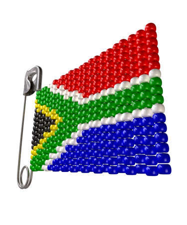 A safety pin with a traditional zulu beaded brooch depicting the south african flag on an isolated background Stock Photo - 15801267