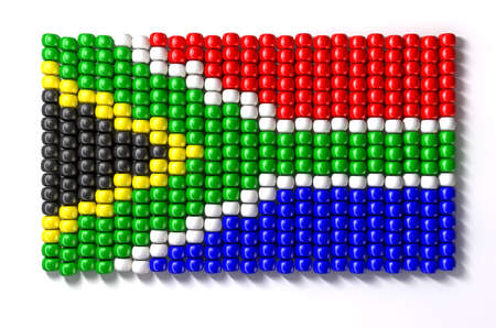 south africa flag: A traditional zulu beaded south african flag on an isolated background Stock Photo