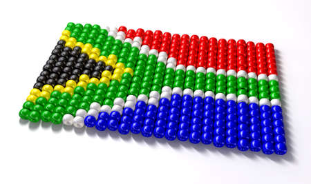 zulu: A traditional zulu beaded south african flag on an isolated background Stock Photo
