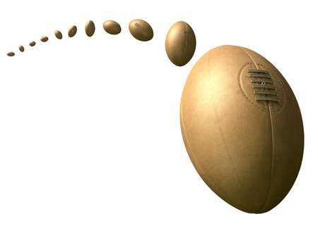 trajectory: A retro classic rugby ball  with the balls flight path plotted through the air on an isolated white background