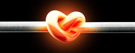burnished: A metal pole twisted into a knotted shape that resembles a heart thats glowing red hot on an isolated background