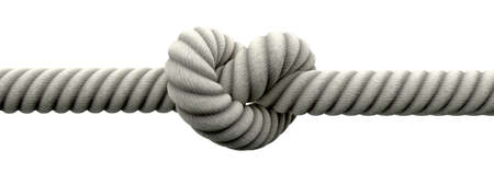 A coarse rope with a knot tied in the middle on an isolated background Stock Photo - 15801274