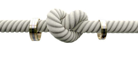 knots: A coarse rope with a knot tied in the middle threaded through two wedding rings attached to either side on an isolated background Stock Photo