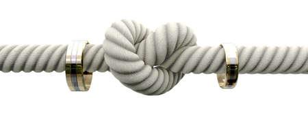 ehe: Eine grobe Seil mit einem Knoten gebunden in der Mitte durch zwei Eheringe an beiden Seiten auf einem isolierten Hintergrund eingefädelt Lizenzfreie Bilder