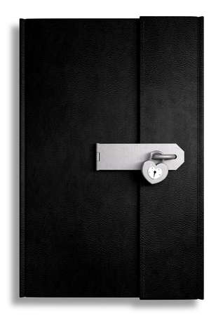 shut: A black leather diary secured by a hasp and a heart shaped padlock on an isolated background