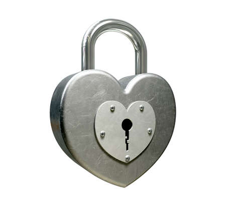 A perspective view of a locked heart shaped metal padlock on an isolated background Stock Photo - 15826195