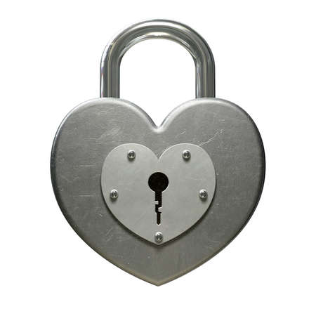 A front view of a locked heart shaped metal padlock on an isolated background Stock Photo - 15826198