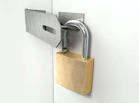 hinged: A perspective view of a regular metal hasp open with an open brass padlock attached to one side on an isolated background Stock Photo