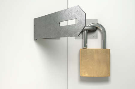 hasp: A front view of a regular metal hasp open with an open brass padlock attached to one side on an isolated background