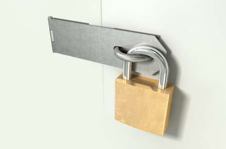 closed door: A perspective view of a regular metal hasp closed and secured by a brass padlock on an isolated background Stock Photo