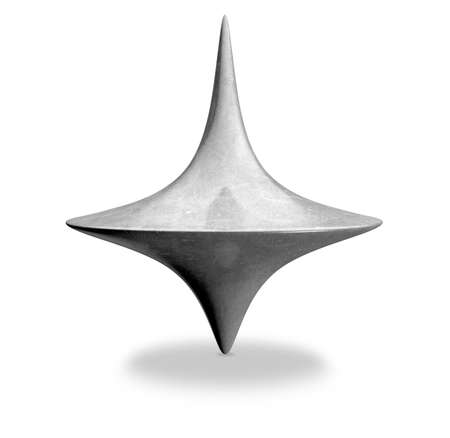 upright: A slightly scratched die-cast lead spinning top in an upright position on an isolated background