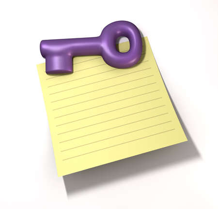 crucial: A vintage purple plastic fridge magnet in the shape of a key holding a piece of yellow ruled paper on an isolated background Stock Photo