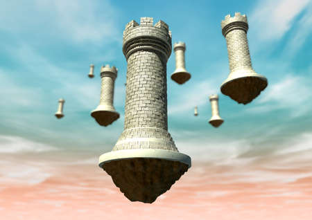 A concept image showing brick made chess castles that are floating against a pnk and blue sky photo